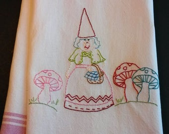 Hand embroidered gnome dishtowel tea towel, toadstool garden gnome