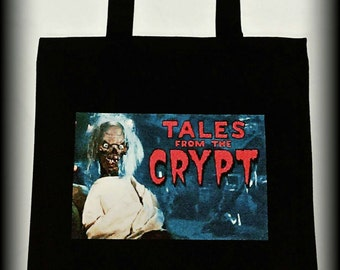 Tales From The Crypt Tote, LARGE tote bag, Horror, Horror Tote, Horror Bag, 90s Horror, Crypt Keeper, Horror Clothing, Gothic Tote Bag