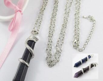 Gemstone Pendulum Serpent Snake Charm Necklace 75cm Select Gemstone