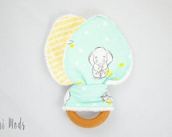Yellow & mint Baby Organic Wood Teething Ring, Teething Toy, Wooden Teether, easter basket gift, baby elephant, disney baby, dumbo UK Seller
