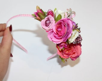 Flower girl flower crown girl flower headband flower girl crown pink roses flower crown flower girl pink headband spring flower crown
