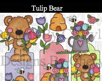 Tulip Bear PNG clipart for planner stickers, card making, scrapbooking personal and small commercial use ok