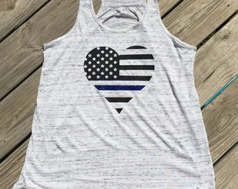Flowy Thin Blue Line Tank Top