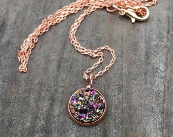 Rose gold druzy necklace, rose gold druzy,  Drusy, Druzy Jewlery, dainty rose gold chain, rose gold
