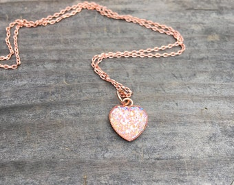 Rose Gold Heart necklace, Rose Quartz Rose gold druzy necklace, Rose Gold Jewelry, Drusy, Druzy Jewlery, dainty rose gold chain, rose gold
