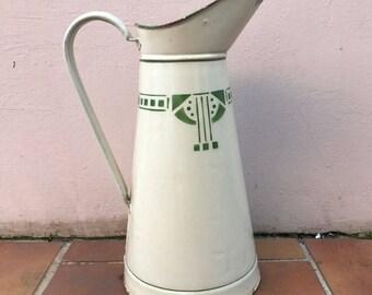 Vintage French Enamel pitcher jug beige green rare water enameled