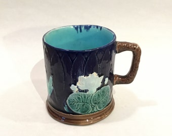 Majolica Water lily Mug, English Majolica, Ca: 1890s.