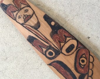 Northwest Coast Carved Model Canoe Paddle, Ca: 1930s.