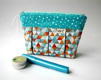 Vegan Toiletry bag women Make up storage Make up organizer Toiletry bag for her Medium zipper pouch Travel zipper pouch Makup bag Azure bag