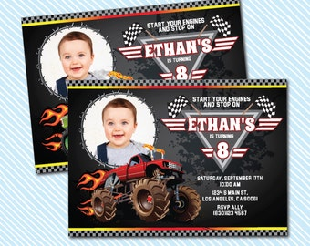 Digital Printable Monster Truck Birthday Invitation.Boy birthday
