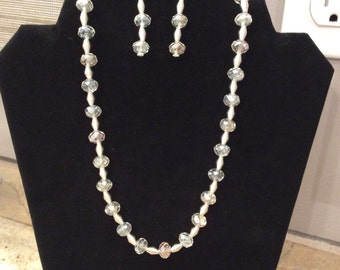 20' Swarovski Crystal Clear Necklace FREE Matching Earrings