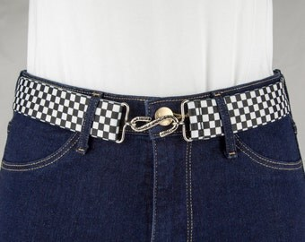 Chequered Elastic Belt with S Buckle
