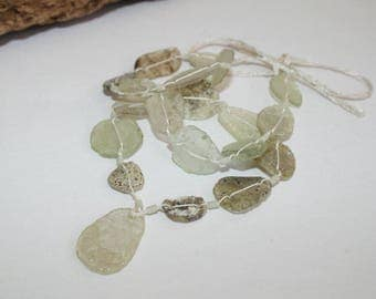 Ancient Roman glass, vintage beads, strand nature, with trailer