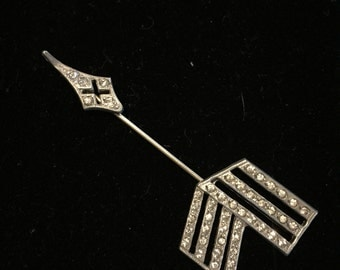 Antique art deco pot metal and rhinestone jabot Pin with screw tip hat scarf lapel pin