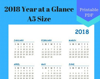 2018 A5 Year at a Glance, Year on one page, Calendar Pages, Planner, Discbound, jr half size