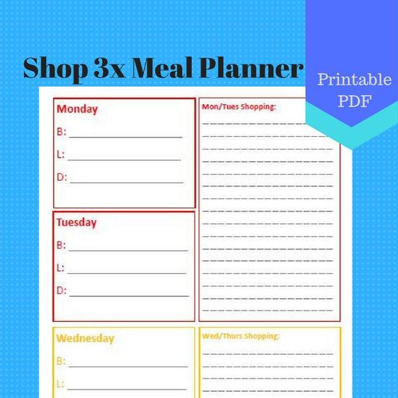 PRINTABLE Shop 3 Times Per Week Meal Planner, A5, Jr