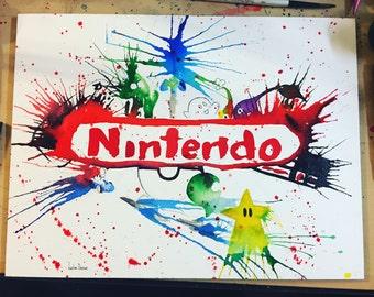 Nintendo Watercolor Montage 12x16 Original Painting