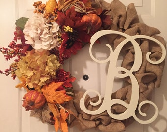 Personalized Fall Burlap Wreath