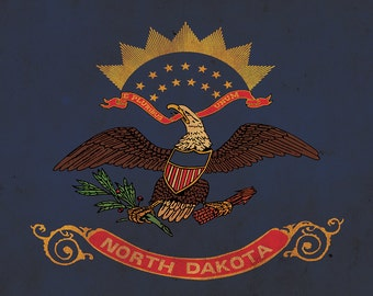 Vintage North Dakota Flag on Canvas, North Dakota Flag, Wall Art, North Dakota Photo North Dakota Print, Single or Multiple Panels