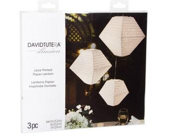 Illusion Trapezoid Lace Paper Lanterns - 3 pieces