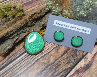 Resin/wood - jewelry set nature-trailer + studs in mint green (149)-resin