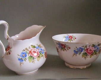Tuscan Pink Floral Milk Jug and Sugar Bowl, Creamer and Bowl. 1940's 50's Vintage Tea Party