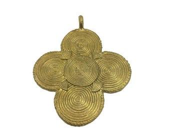 African Brass Pendant - Handmade - Layering Necklace - Lost Wax Pendant - African Tribal Necklace - African Jewelry - Ghanaian Brass Pendant