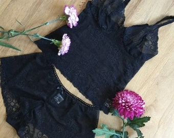Black lace camisole bralet in soft stretch lace handmade Lingerie by fidditchdesigns