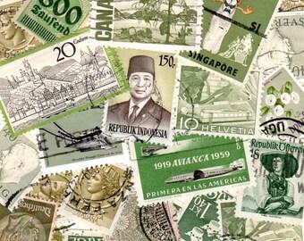 Olive Sage Green Vintage Postage Stamps