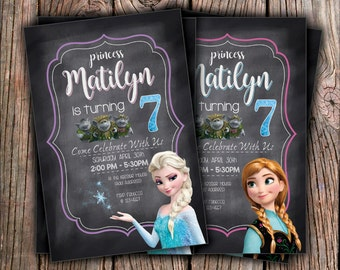 Disney Frozen Elsa or Anna Birthday Invitation