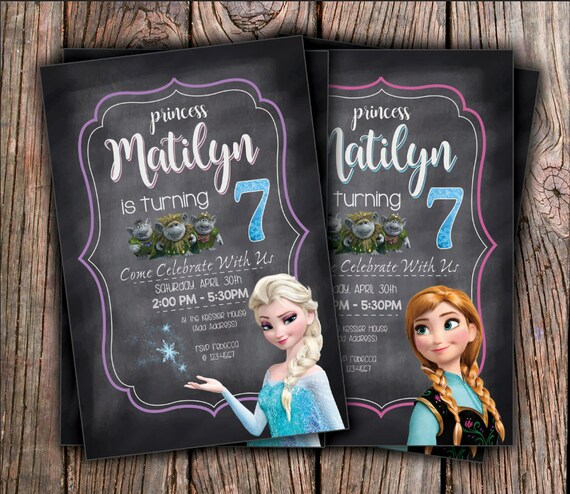Disney Frozen Elsa or Anna Birthday Invitation