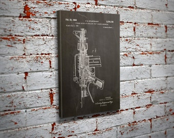 AR-15 Patent Canvas Print Wall Art - Home Decor