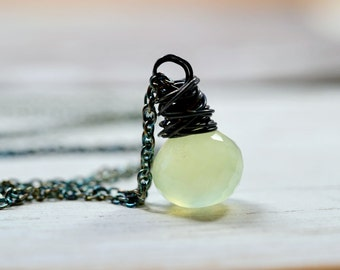 Lime Green Gemstone Necklace, Glowing Green Chalcedony Oxidized Sterling Silver Wire Wrap Jewelry, Delicate Chain Tiny Pendant