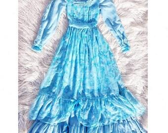 Prairie Dress, Vintage 70s Dress, Maxi Dress, Boho, Bohemian