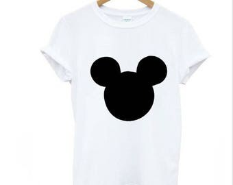 mouse head print Women tshirts Cotton Casual Funny T Shirt For Lady Top Tee Hipster black white