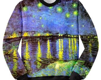 Sweatshirt Starry night, Sweatshirt Van Gogh, Sweatshirt Painting, Sweatshirt printing, Sublimation printing, Sweatshirt Design