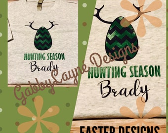 Easter egg hunting. Boys hunting season triblend heather gray next level personalized t-dhirt