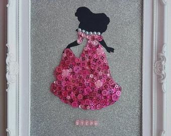 Handmade Disney Inspired Princess Aurora Sleeping Beauty Framed Button Picture Art