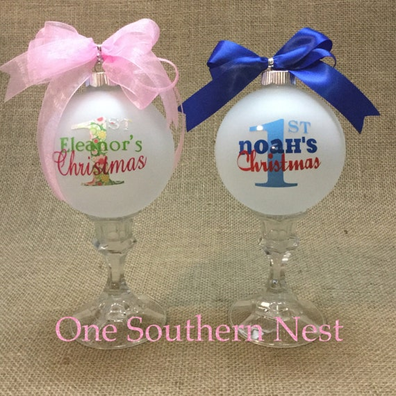 Custom personalized babies first 1st Christmas ball ornament for baby girl or baby boy.