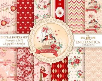 Valentines  Digital Papers, Digital Paper Valentines, Love Digital Paper, Valentines Scrapbook, Valentines Patterns, Heart Patterns, Love