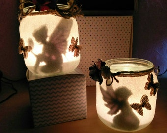 Glitter Fairy Silhouette Lantern / Candle Pot's Freestanding or Hanging