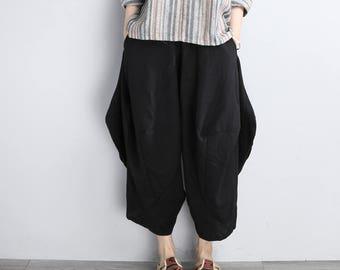 Women Black Pants Casual Linen Cropped Pants Cotton Harem Pants With Pockets