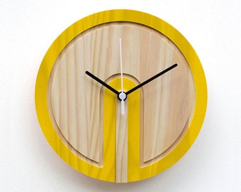 Wooden Colour 'Switch' Clock (yellow)