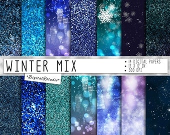 Winter digital papers Christmas Snowflakes and Stars Ombre Blue Purple Bokeh Snow Glitter Digital Paper Pack Sparkle Digital Scrapbook Paper