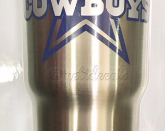 Dallas Cowboys 2 Color Star Decal Sticker For Yeti RTIC Ozark Trail Rambler Tumbler Coldster Cooler