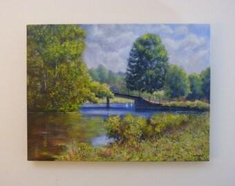 River painting - Bridge over the river Stour.