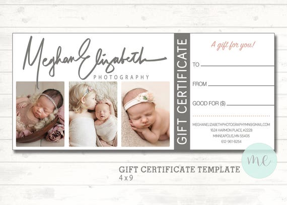 Photographer gift certificate template gift card gift photographer gift certificate template gift card gift certificate newborn photography printable template photoshop template yelopaper Gallery