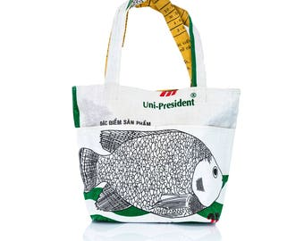 Recycled Upcycled shopping tote bag made from recycled feed bag