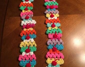 Crochet cupcake scarf