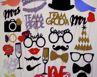 Wedding decoration photo booth Mr Mrs Just Married Glitter Photo Booth Props Groom Bride wedding party decorations bridal shower